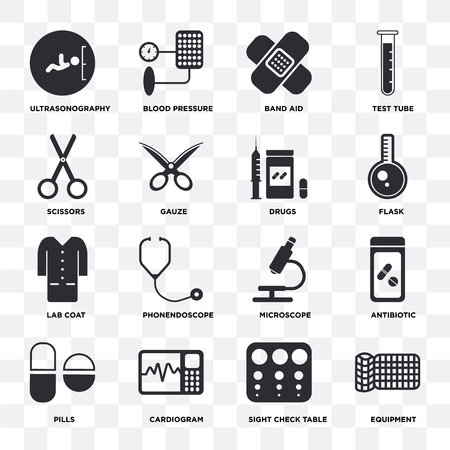 Set Of 16 icons such as Equipment, Sight check table, Cardiogram, Pills, Antibiotic, Ultrasonography, Scissors, Lab coat, Drugs on transparent background, pixel perfect