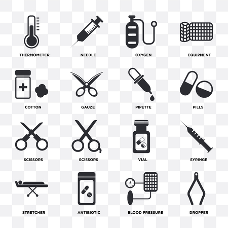 Set Of 16 icons such as Dropper, Blood pressure, Antibiotic, Stretcher, Syringe, Thermometer, Cotton, Scissors, Pipette on transparent background, pixel perfect
