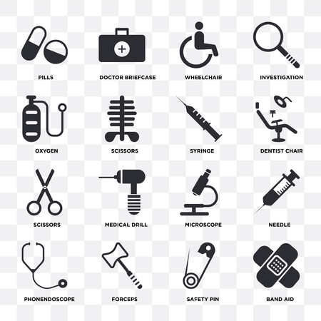 Set Of 16 icons such as Band aid, Safety pin, Forceps, Phonendoscope, Needle, Pills, Oxygen, Scissors, Syringe on transparent background, pixel perfect Illustration