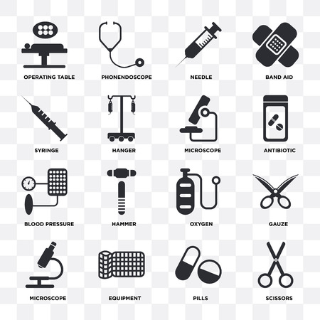 Set Of 16 icons such as Scissors, Pills, Equipment, Microscope, Gauze, Operating table, Syringe, Blood pressure on transparent background, pixel perfect