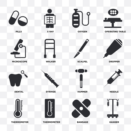 Set Of 16 icons such as Hanger, Bandage, Thermometer, Needle, Pills, Microscope, Dental, Scalpel on transparent background, pixel perfect Vectores