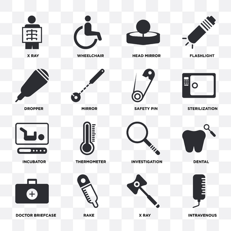 Set Of 16 icons such as Intravenous, X ray, Rake, Doctor briefcase, Dental, Dropper, Incubator, Safety pin on transparent background, pixel perfect