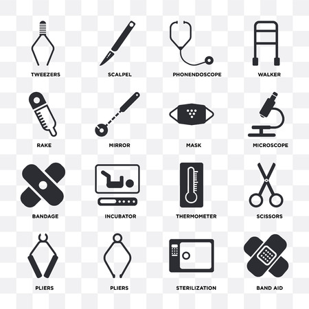 Set Of 16 icons such as Band aid, Sterilization, Pliers, Scissors, Tweezers, Rake, Bandage, Mask on transparent background, pixel perfect