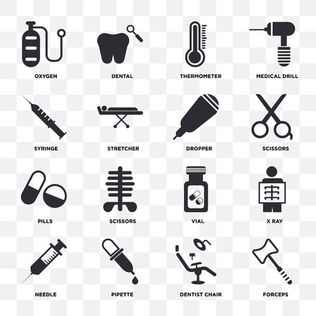 Set Of 16 icons such as Forceps, Dentist chair, Pipette, Needle, X ray, Oxygen, Syringe, Pills, Dropper on transparent background, pixel perfect Illustration