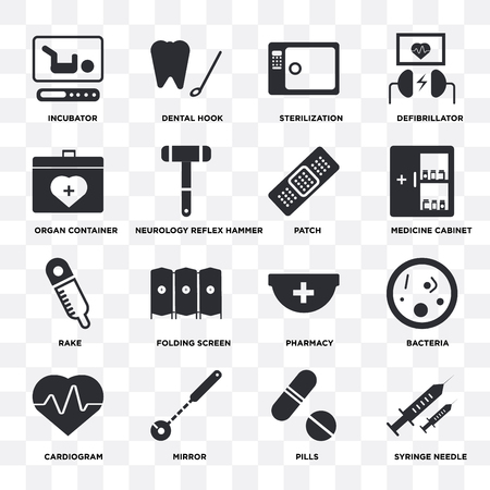Set Of 16 icons such as Syringe needle, Pills, Mirror, Cardiogram, Bacteria, Incubator, Organ container, Rake, Patch on transparent background, pixel perfect Vettoriali