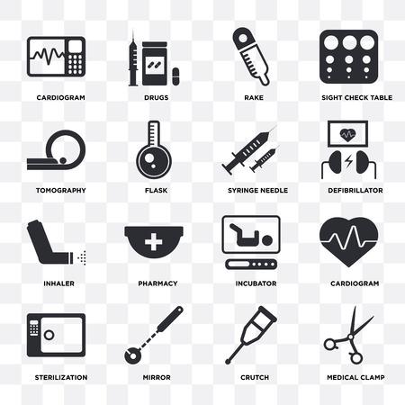 Ensemble de 16 icônes telles que pince médicale, béquille, miroir, stérilisation, cardiogramme, tomographie, inhalateur, aiguille de seringue sur fond transparent, pixel parfait