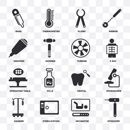 Set Of 16 icons such as Otoscope, Incubator, Sterilization, Hanger, Microscope, Rake, Dropper, Operating table, Turbine on transparent background, pixel perfect Vector Illustration