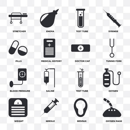 Set Of 16 icons such as Oxygen mask, Bedpan, Needle, Weight, Oxygen, Stretcher, Pills, Blood pressure, Doctor cap on transparent background, pixel perfect Vectores