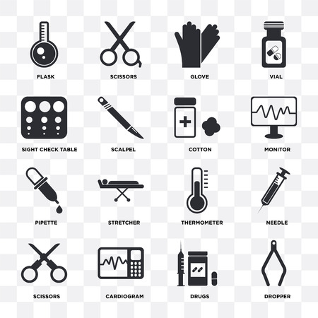 Set Of 16 icons such as Dropper, Drugs, Cardiogram, Scissors, Needle, Flask, Sight check table, Pipette, Cotton on transparent background, pixel perfect