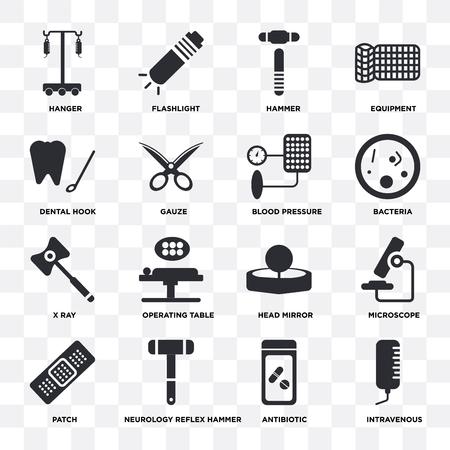 Conjunto de 16 iconos como intravenoso, antibiótico, martillo de reflejos de neurología, parche, microscopio, suspensión, gancho dental, rayos X, presión arterial sobre fondo transparente, píxel perfecto