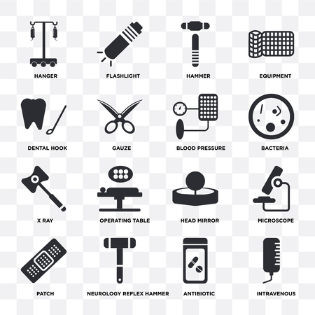Satz von 16 Symbolen wie Intravenös, Antibiotikum, Neurologie-Reflexhammer, Patch, Mikroskop, Aufhänger, Dentalhaken, Röntgen, Blutdruck auf transparentem Hintergrund, Pixel perfekt