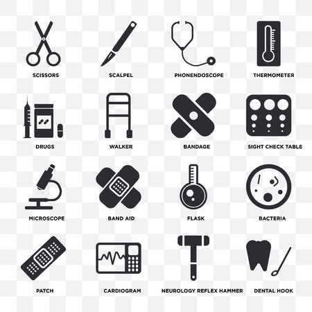 Set Of 16 icons such as Dental hook, Neurology reflex hammer, Cardiogram, Patch, Bacteria, Scissors, Drugs, Microscope, Bandage on transparent background, pixel perfect Illustration