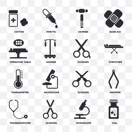 Set Of 16 icons such as Vial, Microscope, Scissors, Phonendoscope, Dropper, Cotton, Operating table, Thermometer on transparent background, pixel perfect