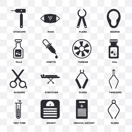 Set Of 16 icons such as Pliers, Medical history, Weight, Test tube, Tweezers, Otoscope, Pills, Scissors, Turbine on transparent background, pixel perfect Illustration