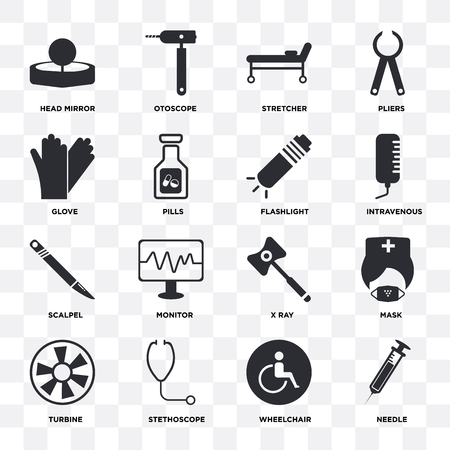 Set Of 16 icons such as Needle, Wheelchair, Stethoscope, Turbine, Mask, Head mirror, Glove, Scalpel, Flashlight on transparent background, pixel perfect