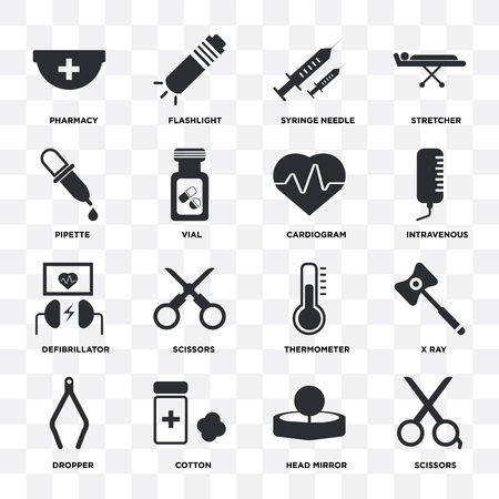 Set Of 16 icons such as Scissors, Head mirror, Cotton, Dropper, X ray, Pharmacy, Pipette, Defibrillator, Cardiogram on transparent background, pixel perfect
