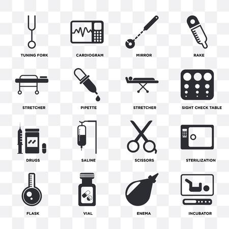 Ensemble de 16 icônes telles que incubateur, lavement, flacon, flacon, stérilisation, diapason, civière, médicaments sur fond transparent, pixel parfait
