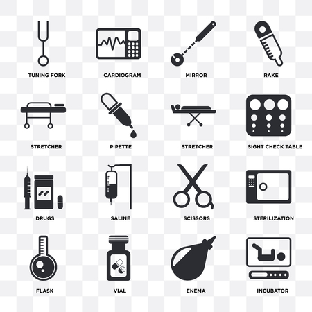 Set Of 16 icons such as Incubator, Enema, Vial, Flask, Sterilization, Tuning fork, Stretcher, Drugs on transparent background, pixel perfect