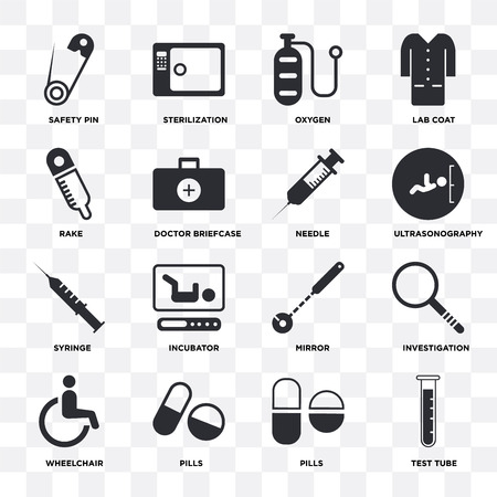 Set Of 16 icons such as Test tube, Pills, Wheelchair, Investigation, Safety pin, Rake, Syringe, Needle on transparent background, pixel perfect