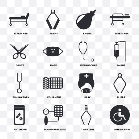 Set Of 16 icons such as Wheelchair, Tweezers, Blood pressure, Antibiotic, Pliers, Stretcher, Gauze, Tuning fork, Stethoscope on transparent background, pixel perfect Illustration