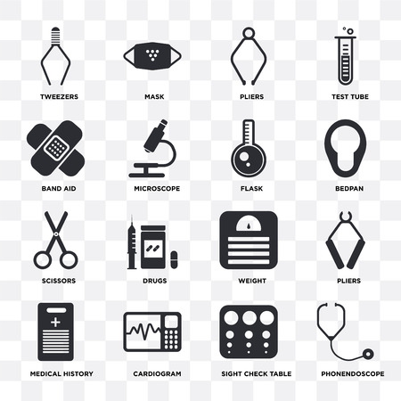 Set Of 16 icons such as Phonendoscope, Sight check table, Cardiogram, Medical history, Pliers, Tweezers, Band aid, Scissors, Flask on transparent background, pixel perfect