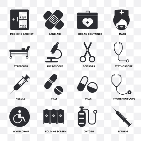 Set Of 16 icons such as Syringe, Oxygen, Folding screen, Wheelchair, Phonendoscope, Medicine cabinet, Stretcher, Needle, Scissors on transparent background, pixel perfect