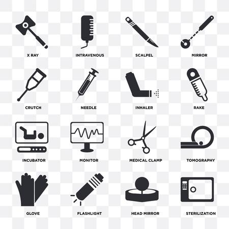 Ensemble de 16 icônes telles que stérilisation, miroir principal, lampe de poche, gant, tomographie, rayons X, béquille, incubateur, inhalateur sur fond transparent, pixel parfait