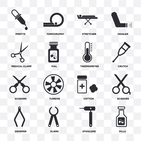 Set Of 16 icons such as Pills, Otoscope, Pliers, Dropper, Scissors, Pipette, Medical clamp, Thermometer on transparent background, pixel perfect