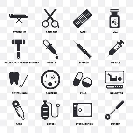 Ensemble de 16 icônes telles que miroir, stérilisation, oxygène, râteau, incubateur, civière, marteau réflexe de neurologie, crochet dentaire, seringue sur fond transparent, pixel parfait Vecteurs