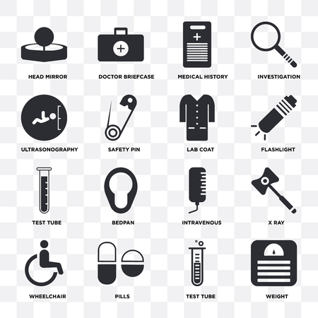 Set Of 16 icons such as Weight, Test tube, Pills, Wheelchair, X ray, Head mirror, Ultrasonography, Lab coat on transparent background, pixel perfect