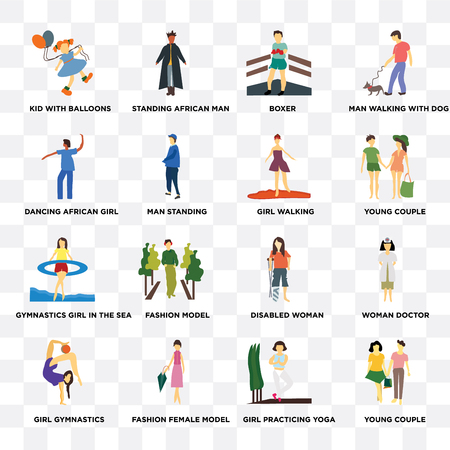 Set Of 16 transparent icons such as young couple, Girl practicing yoga, Kid with balloons, gymnastics, Woman doctor, disabled woman, Boxer on transparent background, pixel perfect
