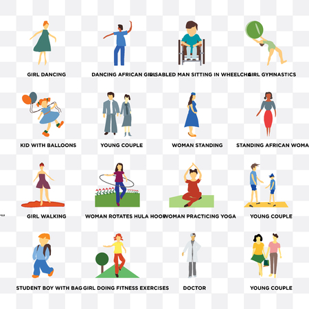 Set Of 16 transparent icons such as young couple, Girl doing fitness exercises, student boy with bag, Young gymnastics on transparent background, pixel perfect