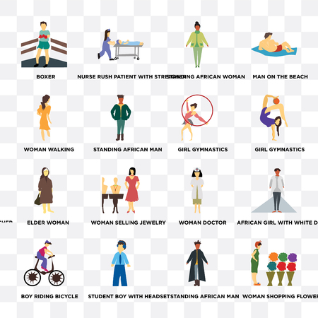 Set Of 16 transparent icons such as Woman shopping flowers, standing African man, student boy with headset, riding bicycle, walking on transparent background, pixel perfect  イラスト・ベクター素材