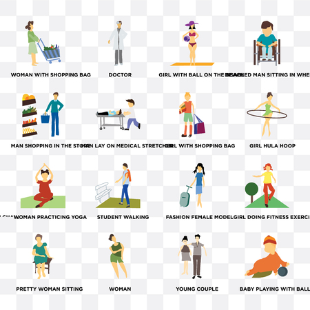 Set Of 16 transparent icons such as baby playing with ball, young couple, Woman, Pretty woman sitting, Man shopping in the store on transparent background, pixel perfect