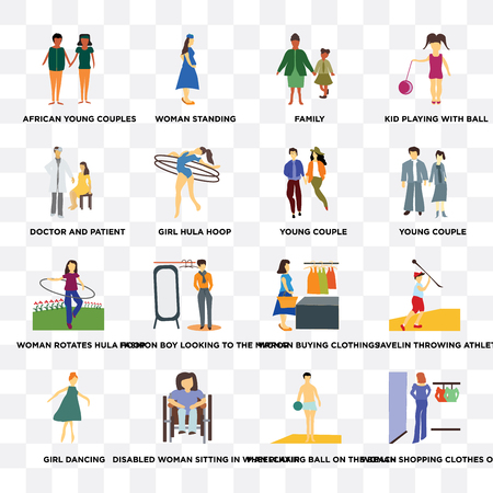 Set Of 16 transparent icons such as woman shopping clothes on sale, Man playing ball the beach, Disabled sitting in wheelchair, girl hula hoop on transparent background, pixel perfect