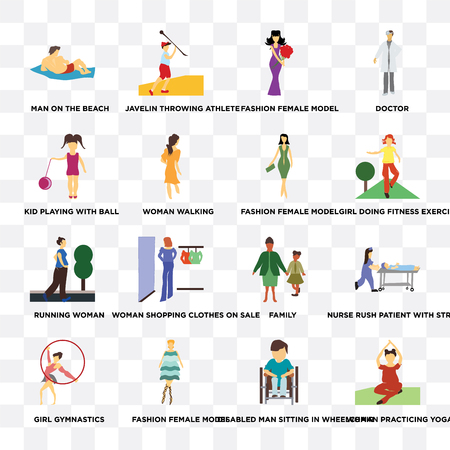 Set Of 16 transparent icons such as Woman practicing yoga, walking, Fashion female model, Girl gymnastics, nurse rush patient with stretcher, doctor on transparent background, pixel perfect