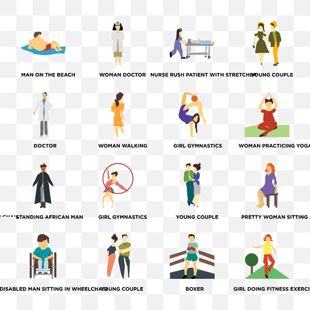 Set Of 16 transparent icons such as Girl doing fitness exercises, Boxer, young couple, Disabled man sitting in wheelchair, doctor on transparent background, pixel perfect