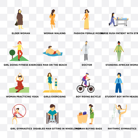 Set Of 16 transparent icons such as rhythmic gymnastics, woman buying bags, Disabled man sitting in wheelchair, Man on the beach on transparent background, pixel perfect