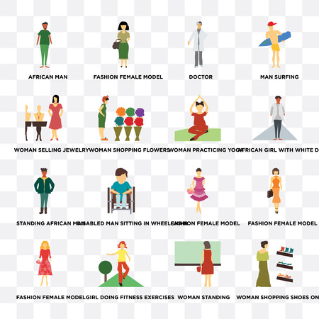 Set Of 16 transparent icons such as Woman shopping shoes on sale, standing, Girl doing fitness exercises, flowers on transparent background, pixel perfect