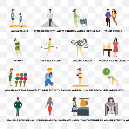 Set Of 16 transparent icons such as Disabled woman sitting in wheelchair, buying clothings, standing African woman, man, Woman on transparent background, pixel perfect