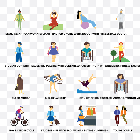 Set Of 16 transparent icons such as young couple, woman buying clothings, student girl with bag, boy riding bicycle, headset on transparent background, pixel perfect
