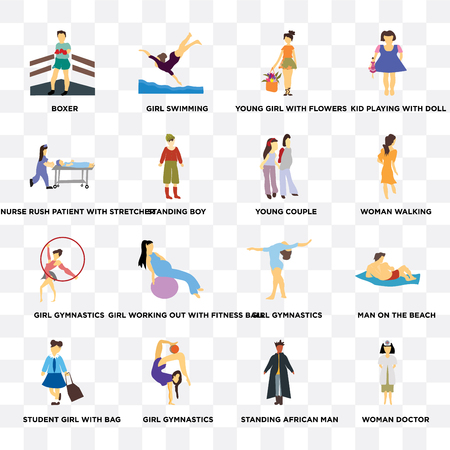 Set Of 16 transparent icons such as Woman doctor, Standing boy, Girl gymnastics, student girl with bag, Man on the beach, Kid playing doll on transparent background, pixel perfect