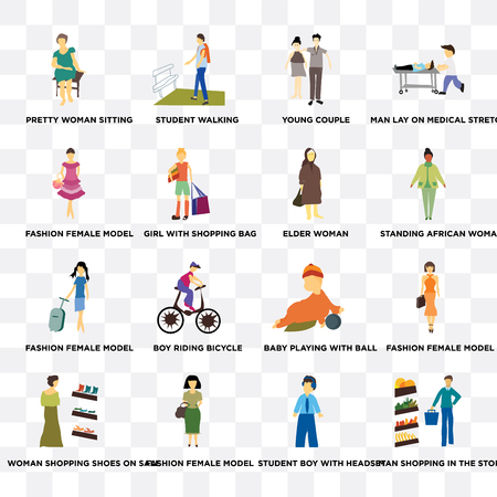 Set Of 16 transparent icons such as Man shopping in the store, student boy with headset, Fashion female model, girl bag on transparent background, pixel perfect Vettoriali