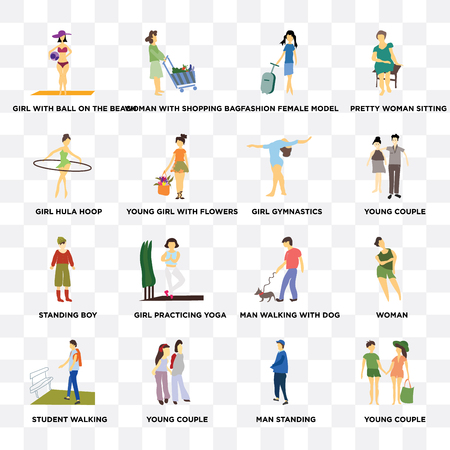 Set Of 16 transparent icons such as Young couple, young girl with flowers, Student walking, Woman, Pretty woman sitting on transparent background, pixel perfect Vektorové ilustrace