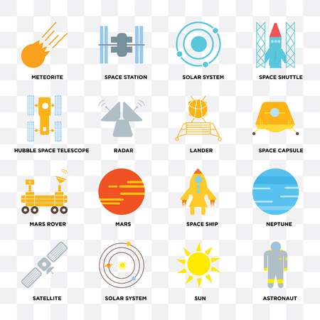 Conjunto de 16 iconos como Astronauta, Sol, Sistema Solar, Satélite, Neptuno, Meteorito, Telescopio espacial Hubble, Mars rover, Lander sobre fondo transparente, pixel perfecto Ilustración de vector