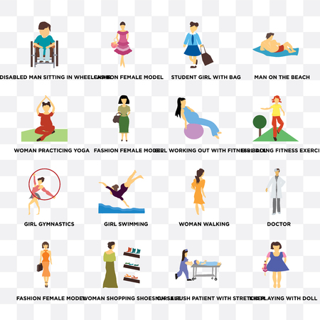Set Of 16 transparent icons such as Kid playing with doll, nurse rush patient stretcher, Woman shopping shoes on sale, Fashion female model on transparent background, pixel perfect
