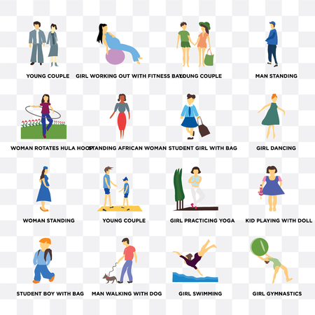 Set Of 16 transparent icons such as Girl gymnastics, swimming, Man walking with dog, student boy bag, woman rotates hula hoop on transparent background, pixel perfect
