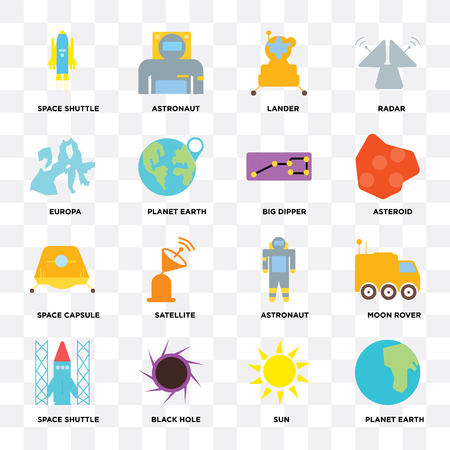 Set Of 16 icons such as Planet earth, Sun, Black hole, Space shuttle, Moon rover, Europa, capsule, Big dipper on transparent background, pixel perfect