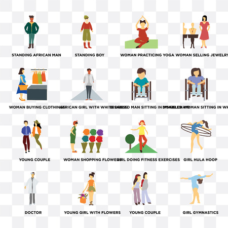 Set Of 16 transparent icons such as Girl gymnastics, African girl with white dress, young flowers, doctor, hula hoop, woman selling jewelry on transparent background, pixel perfect