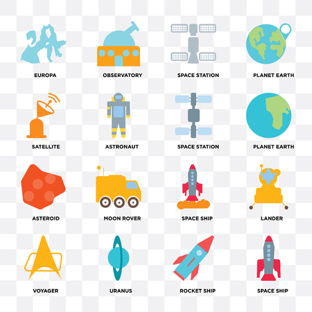 Set Of 16 icons such as Space ship, Rocket Uranus, Voyager, Lander, Europa, Satellite, Asteroid, station on transparent background, pixel perfect